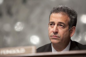 UNITED STATES - JULY 14:  Senator Russell Feingold, a Democrat from Wisconsin, listens to testimony from Sonia Sotomayor, U.S. Supreme Court nominee, during her confirmation hearing before the Senate Judiciary Committee in Washington, D.C., U.S., on Tuesday, July 14, 2009. Sotomayor, rebutting Republican suggestions that she is biased, said the law and not her life experiences would guide her rulings on the U.S. Supreme Court.  (Photo by Brendan Hoffman/Bloomberg via Getty Images)