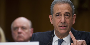 """UNITED STATES - FEBRUARY 26: Former Sen. Russ Feingold, D-Wisc., U.S. special envoy for the Great Lakes Region and the Democratic Republic of Congo, testifies before a Senate Foreign Relations Committee hearing in Dirksen Building titled """"Prospects for Peace in the Democratic Republic of Congo and Great Lakes Region."""" (Photo By Tom Williams/CQ Roll Call)"""
