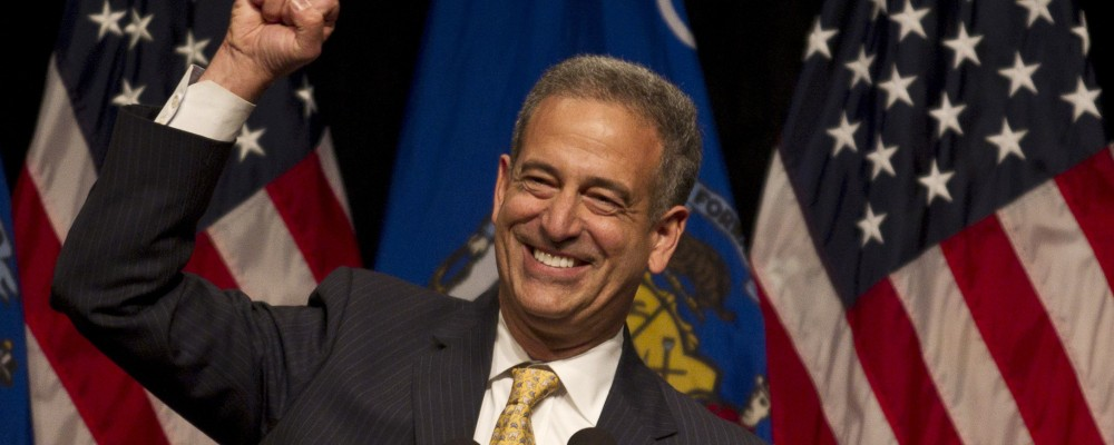 Sen. Russ Feingold (D-Wis) speaks at a campaign event with first lady Michelle Obama Wednesday, Oct. 13, 2010, in Milwaukee. (AP Photo/Morry Gash)